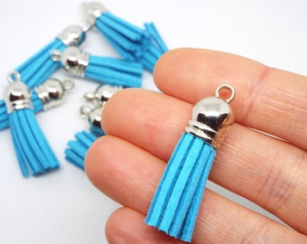 Small Turquoise Suede Tassel Charm 38mm Pack of 5