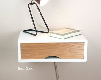 Denali White Floating Nightstand with Door, Wall Mount Nightstand, Side Table, Bedside Table