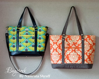 The Bluebell Tote & Handbag, PDF sewing pattern, Bagstock Designs