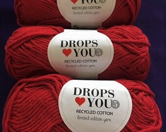 Lot of 6 Red 100% Cotton Skeins, For Knitting And Crocheting Fine Yarns. RECYCLED COTTON   Made In EU