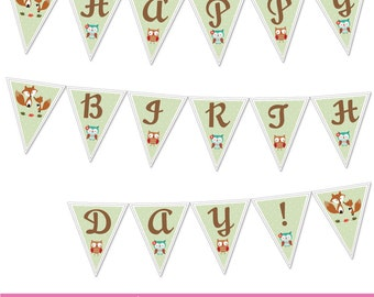 Woodland party matching pennant banner--owls, squirrels and foxes, etc