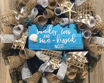 Beach wreath, burlap beach wreath, starfish wreath, seashell wreath, nautical wreath, sandy toes wreath, everyday wreath, summer wreath,