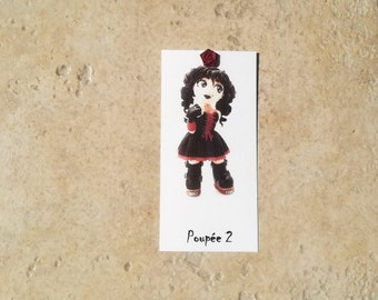 Bookmark 2 black, red dress doll