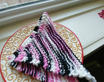 Knitted Dishcloth/Washcloth -- Pink, Black, and White Variegated Yarn
