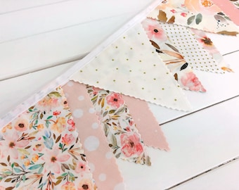 Watercolor Floral Bunting Banner Baby Girl Nursery Decor Baby Shower Fabric Bunting Nursery Bunting Indy Bloom Blush Pink Gold Flowers