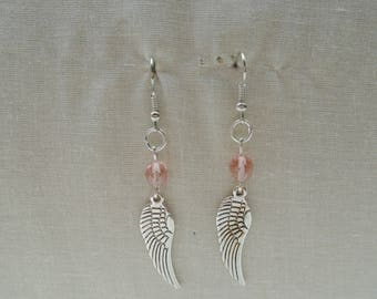 Earrings pink wings with glass beads