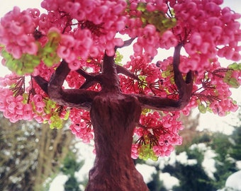 Artificial pink tree, beaded girl sculpture, handmade tree of life, wire bonsai tree. miniature tree