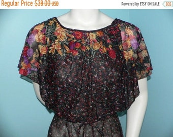 ON SALE 1970s Floral Sheer Blouson Dress With Blousy Top and Split Sleeves