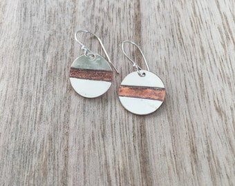 Silver Disc Earrings with Copper Middle