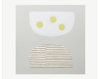 abstract screenprint, fine art original, neutrals, yellow, modern wall art, Emma Lawrenson.