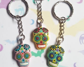 Sugar skull keyring, Sugar skull bag charm, Skull keyring, Day of the dead, Skull, Mexican, Día de Muertos, Sugar skull