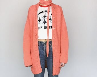 1960s Hand-Knit Salmon Cardigan / 1970s Pink Long Belted Sweater (S/M)