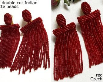 Red tassel earrings Oscar de la Renta earrings Garnet tassel earrings Fringe earrings Beaded tassel earrings red Waterfall earrings