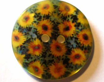 1 button printed polyester bright sunflowers 27mm - ABR111