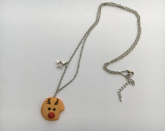 Reindeer Christmas cookie necklace