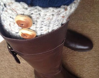 Crocheted Boot Cuff's with rustic handmade buttons