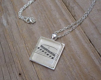 Musician Necklace - Vintage Music Book Septuplets - Gift for Musician