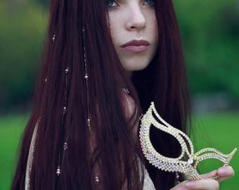 9 Blush Rose Pink Pearl & Gold Swarovski® Crystal Bridal Hair Vines Boho Chic Bride Accessory Bohemian Renaissance Wedding Veil Extensions