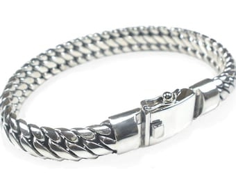 Sterling Silver Mens Bracelet Unusual Heavy Chunky Braided Design Sterling 925 Silver (two lengths)