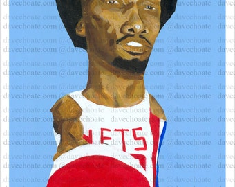 Photo print from an original painting of Julius Erving, New York Nets