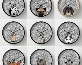 Delightful Dog Wall Decor Dog Wall Clock Black And White Dalmatian Dog Afgan Hound  Chihuahua Pug Shintzu
