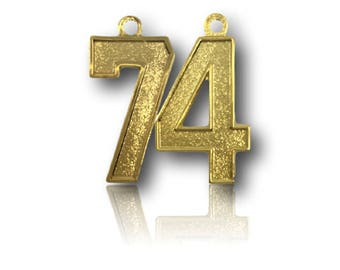 """Number 74 Jersey Style Sports Necklace Charm Pendant (0.8"""" Tall)  GOLD PLATED Football Baseball Basketball Soccer Lacrosse Hockey"""
