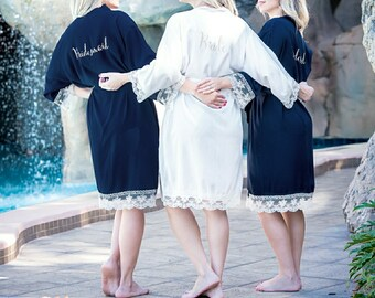 Bridesmaid robes, FREE SHIPPING , Mix & Match, Cotton Lace Kimono robe, Lace Bridal Robes, Bridesmaid gift, Getting ready photo Bridesmaids