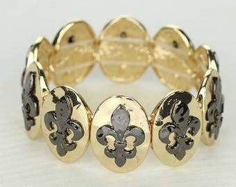 Fleur De Le Stretch Bracelet - Black/Gold