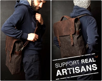 Waxed Canvas Backpack, Canvas Bag, Leather Backpack, Travel Backpack, Wax Backpack, Backpack with strap, Men Backpack, Waterproof Backpack