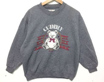 Vintage Cuddiy Bear Gray Color By LACIFONELLI Crewneck Sweatshirt