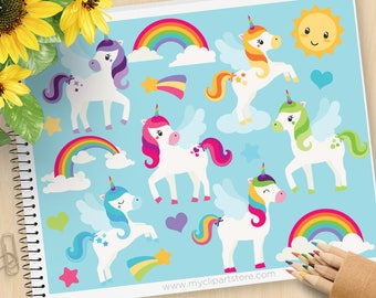 Little Unicorns Clipart, Rainbows, pegasus, rainbows, cute sun, stars, magical, little pony, Commercial Use, Vector clip art, SVG Cut Files