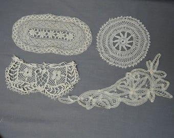 4 Handmade Lace Antique Edwardian Lace Pieces, Vintage 1900s Handmade Bobbin Lace
