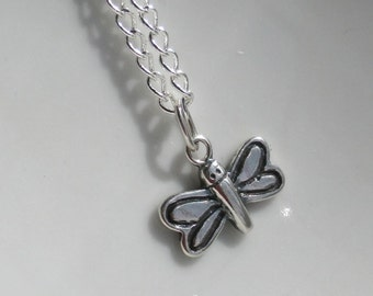 Cute Tiny Sterling Silver Dragonfly Necklace