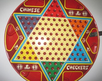 Tin, Chinese Checkers, Game Board, Double Sided, Checkers, No Game Pieces, 15 inch Diameter, Ohio Art, Vintage