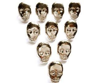 10 Silver Skull Studs - 20-S-15