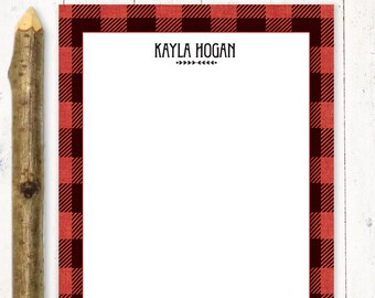 personalized notePAD - BUFFALO PLAID - buffalo check - stationery - stationary - gift for him - letter writing paper