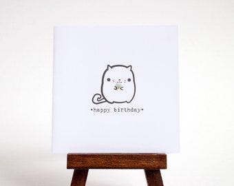 happy birthday card - cat with tiny ice cream