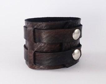 Soft, black, Brown Leather Bracelet