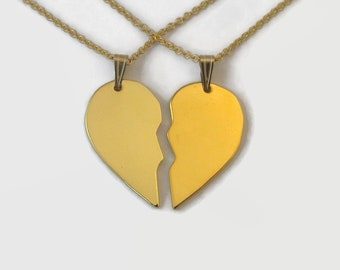 Matching 24 Carat Gold Plated Half Heart Necklaces - Couples Set - Unique split heart sold as a matching couple's set