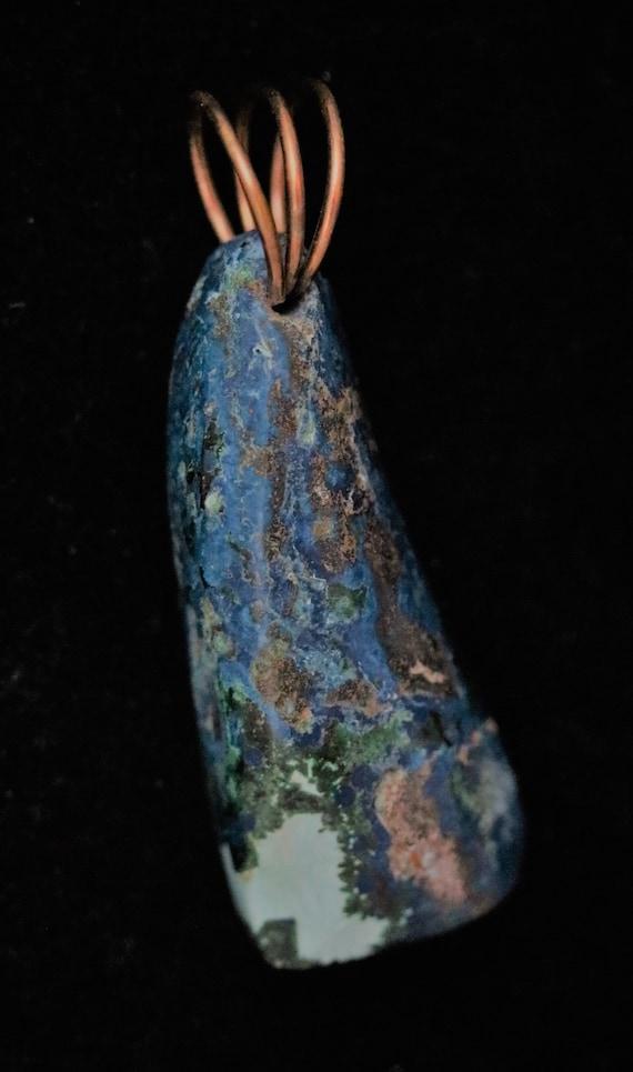 Shattuckite pendant, blue aqua brown, bronze twirl bail 77ct