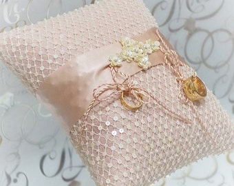 Pink ivory sequined and beaded lace silk ring bearer pillow satin