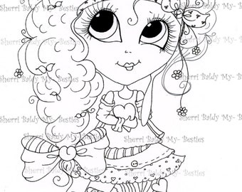 INSTANT DOWNLOAD Digital Digi Stamps Big Eye Big Head Dolls Digi IMG4582 Bestie Tudes By Sherri Baldy