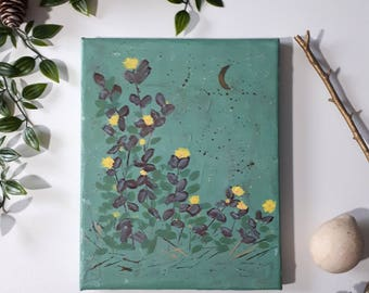 "Acrylic on Canvas Original Floral Painting Impressionistic art |  ""Yellow Flowers Under the Moon"" 8"" x 10""