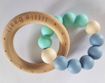 BPA free silicone baby teether GREEN & BLUE