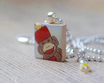 Sock Monkey Scrabble Pendant, Handmade Scrabble Tile Art Pendant, Wood Pendant, Wire Wrapped Bead Dangle, Tiny Bead Charm, Monkey Lover Gift