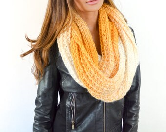 The Ciara Handknit Mustard/Yellow Cream Ombre Infinity Scarf/ Cowl for Women