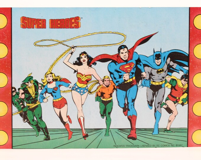 DC Comics Rare Comic Book Collectible Vintage Store Cards 1982 Super Hero Advertisement Super Girl Green Arrow Wonder Woman Superman Batman