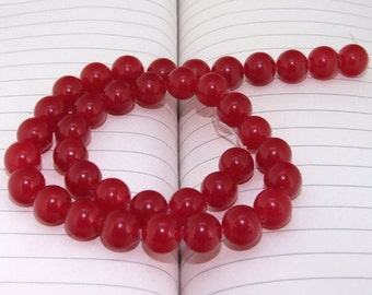 """strand Round Red Jade Beads ----- 10mm ----- about 38Pieces ----- gemstone beads--- 15"""" in length"""