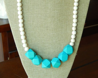 Chunky wood bead necklace, boho style necklace, beach chic, layering necklace, geometric beads, turquoise and white, long necklace, handmade