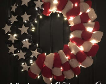 LIGHTS ADD-ON for Any Wreath - 4th of July, Everyday, Chatsworth Ranch Company - Christmas, Holiday and Seasonal Burlap Wreath